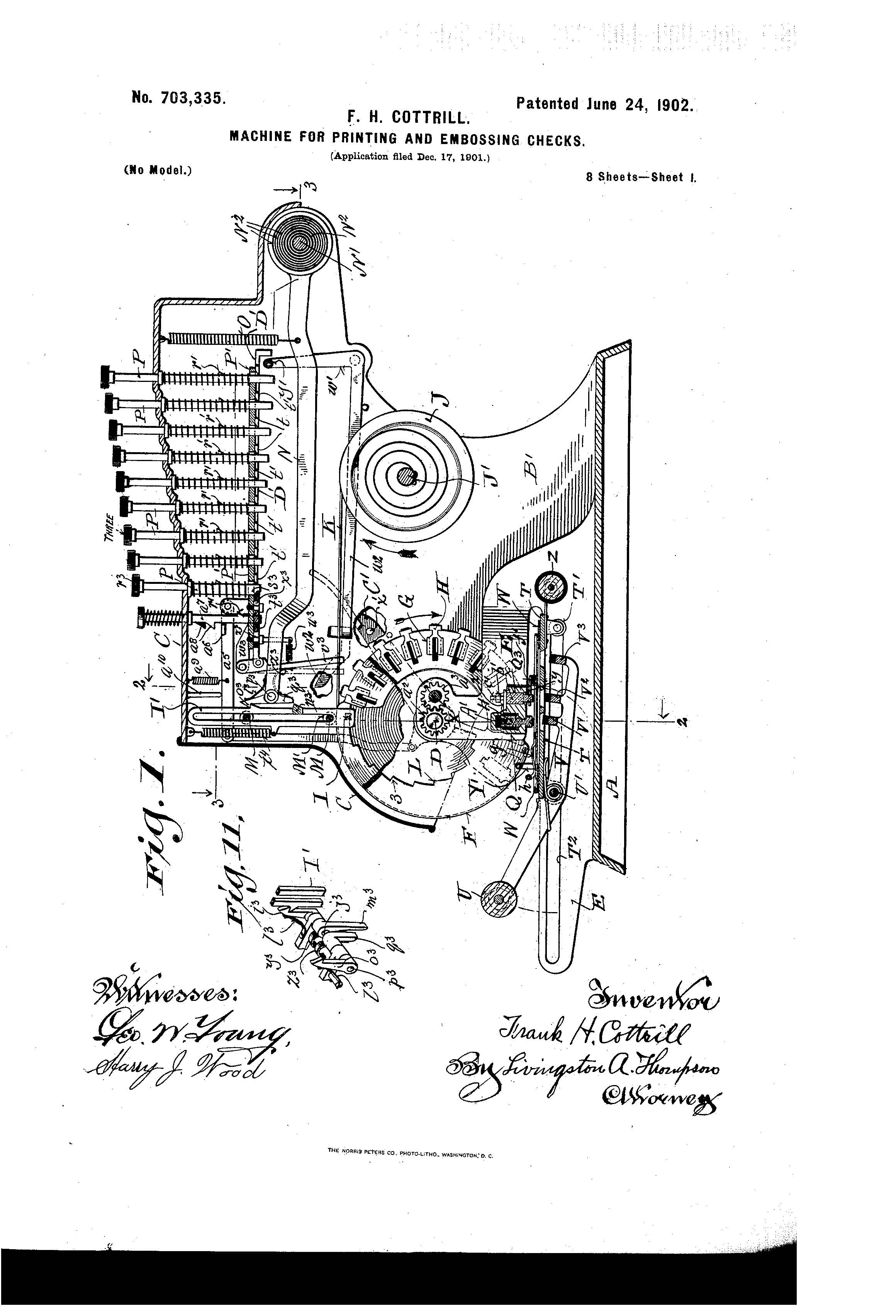 Patent of the Day: Machine for Printing and Embossing Checks