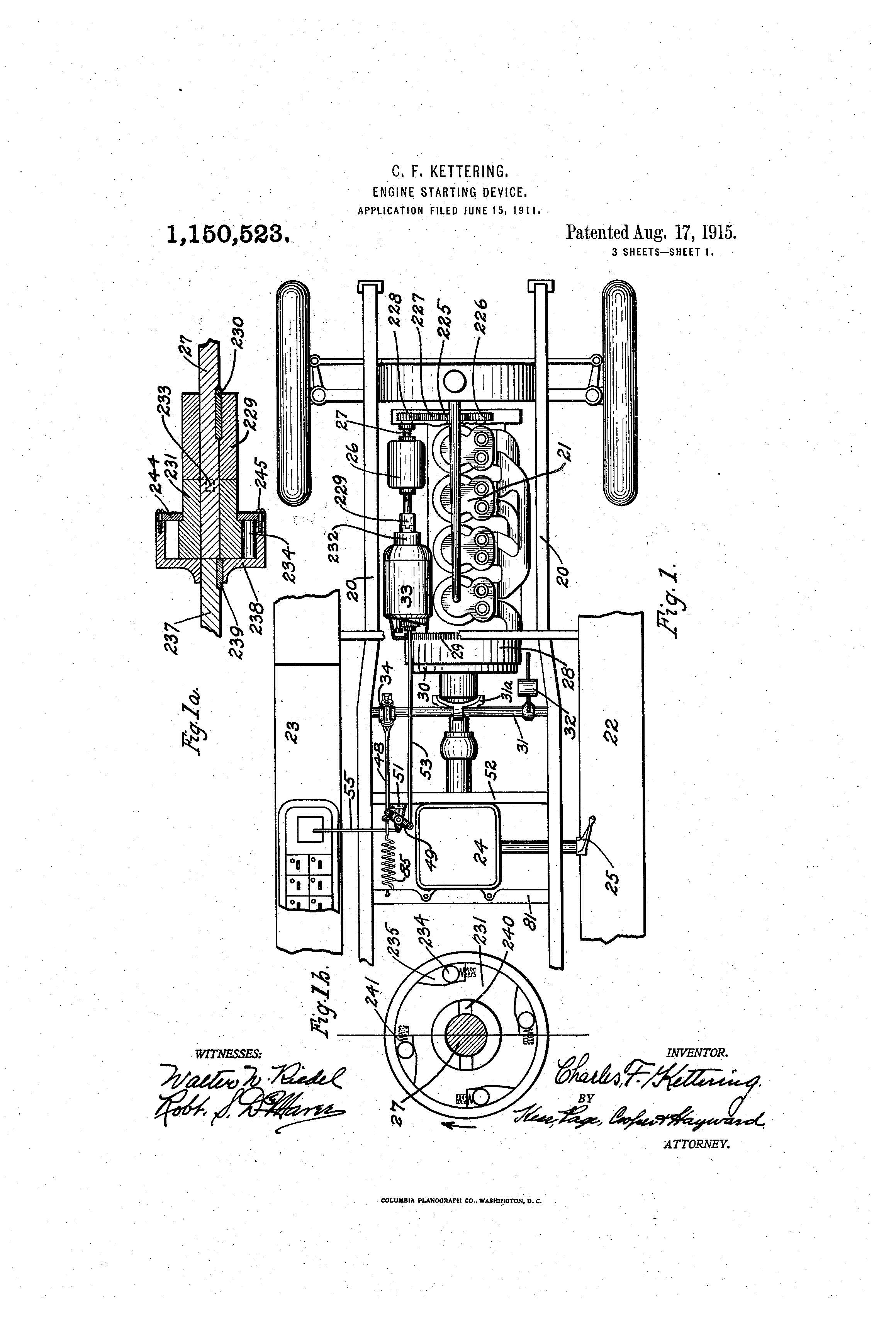Patent Of The Day Engine Starting Device First Electric Engine For Automobiles