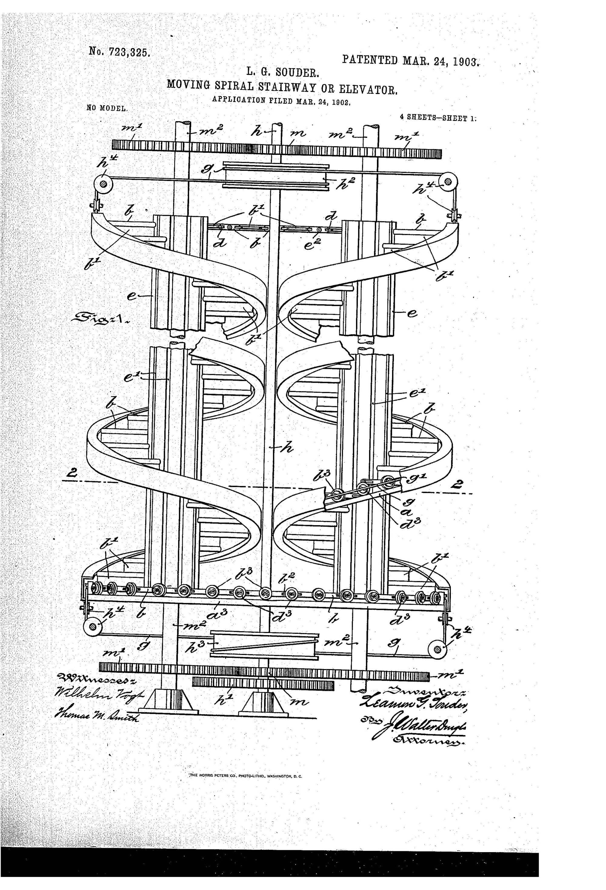 hight resolution of patent of the day moving spiral stairway or elevator
