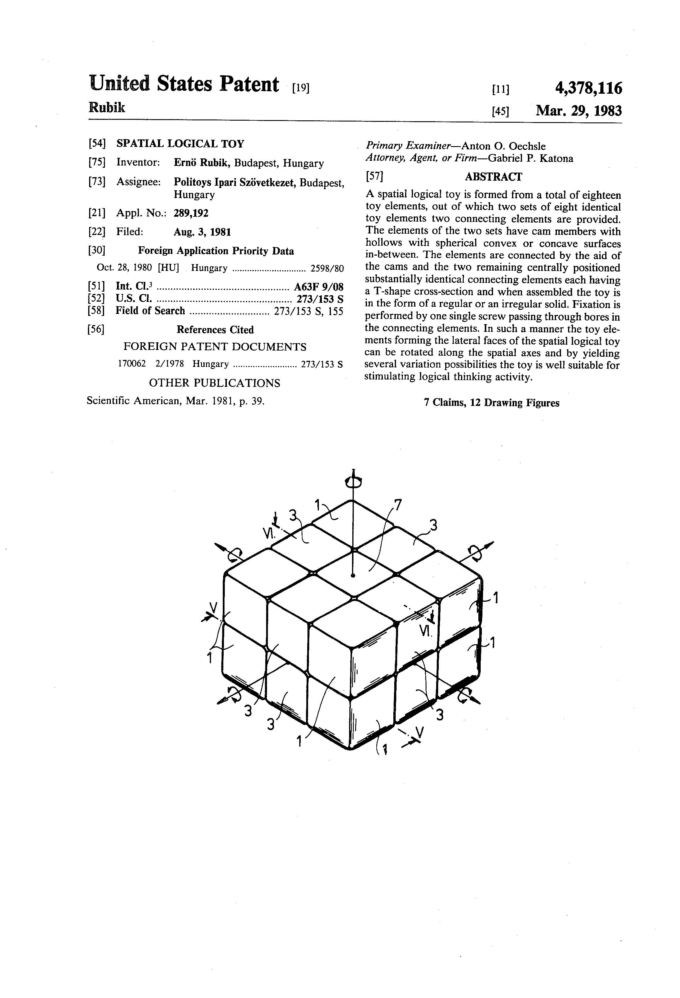 Patent Of The Week Spatial Logical Toy Rubik S Cube