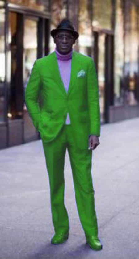Classic Ultra Smooth 2 Button Style Suit lime mint Green