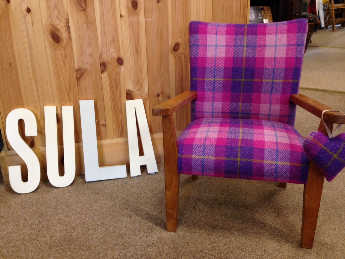 chair covers scotland black wingback bring a back to life with harris tweed sula soft
