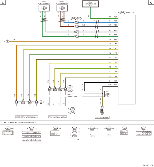 subaru legacy service manual  airbag system wiring diagram
