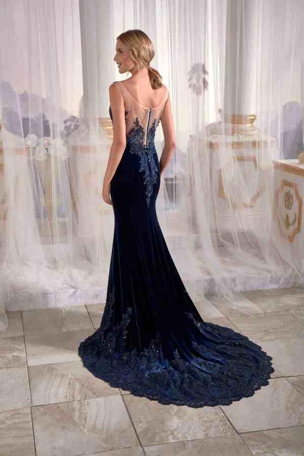 Navy Blue Mermaid Maxi Prom Dress Velvet Open Needle