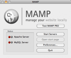 MAMP screenshot