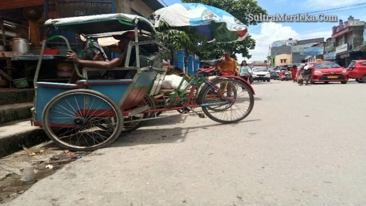 Becak di Kota Kendari