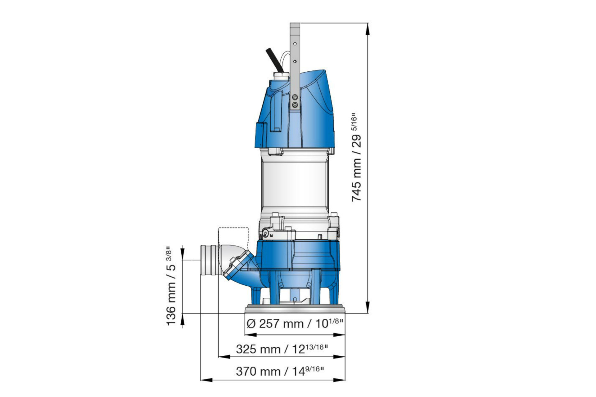 hight resolution of dimension drawing of submersible sludge pumps xjs 25 and xjs 40
