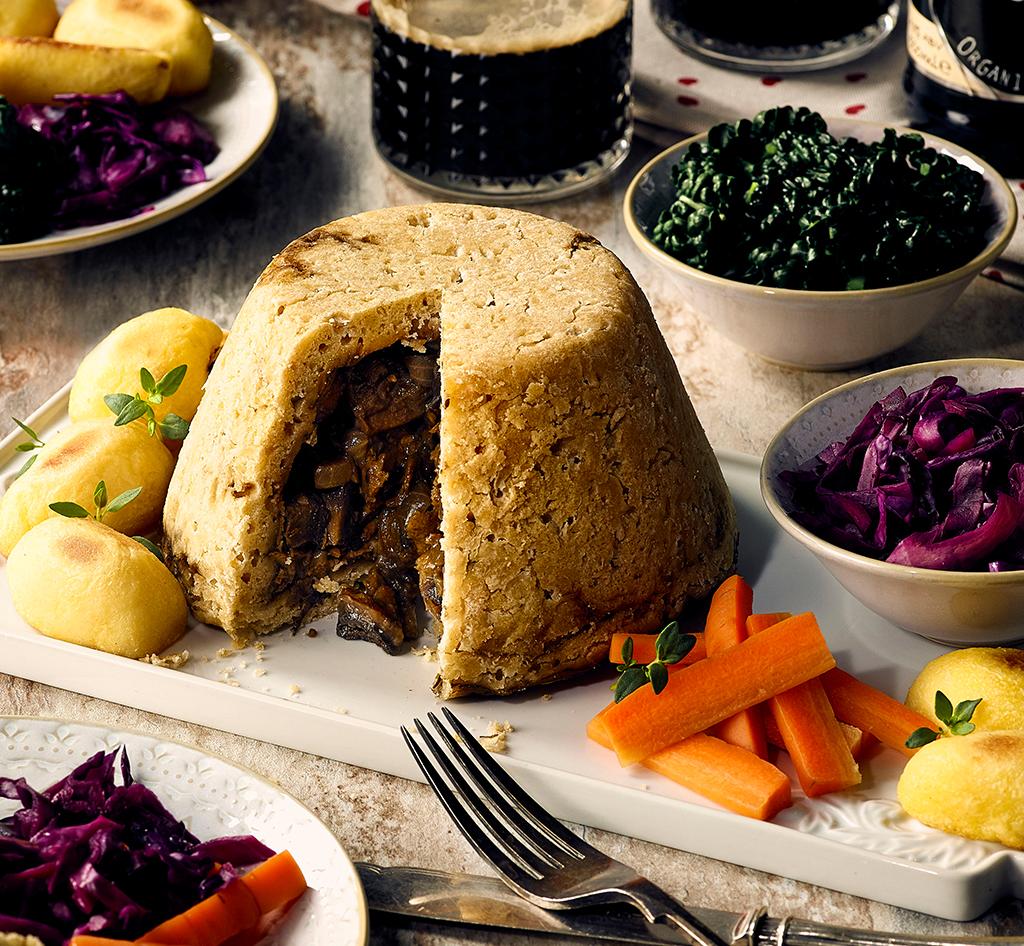 Vegan Mushroom and Stout Pudding