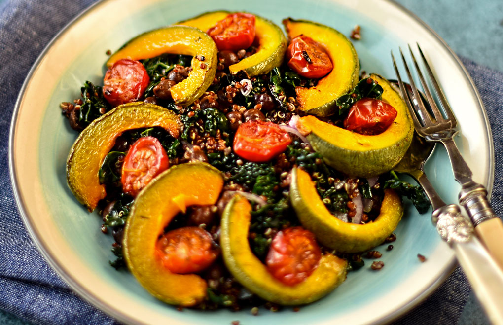 Roast squash quinoa and black chickpea salad