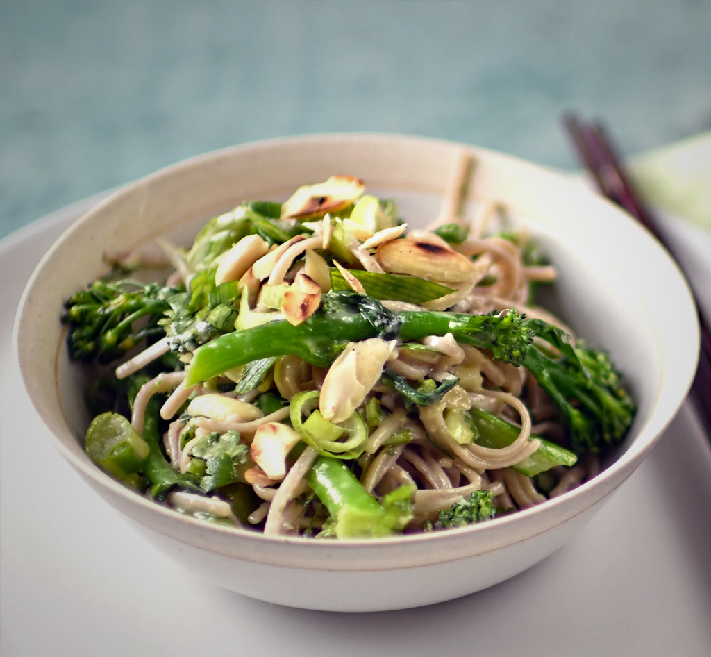 broccoli almond and buckwheat noodle salad