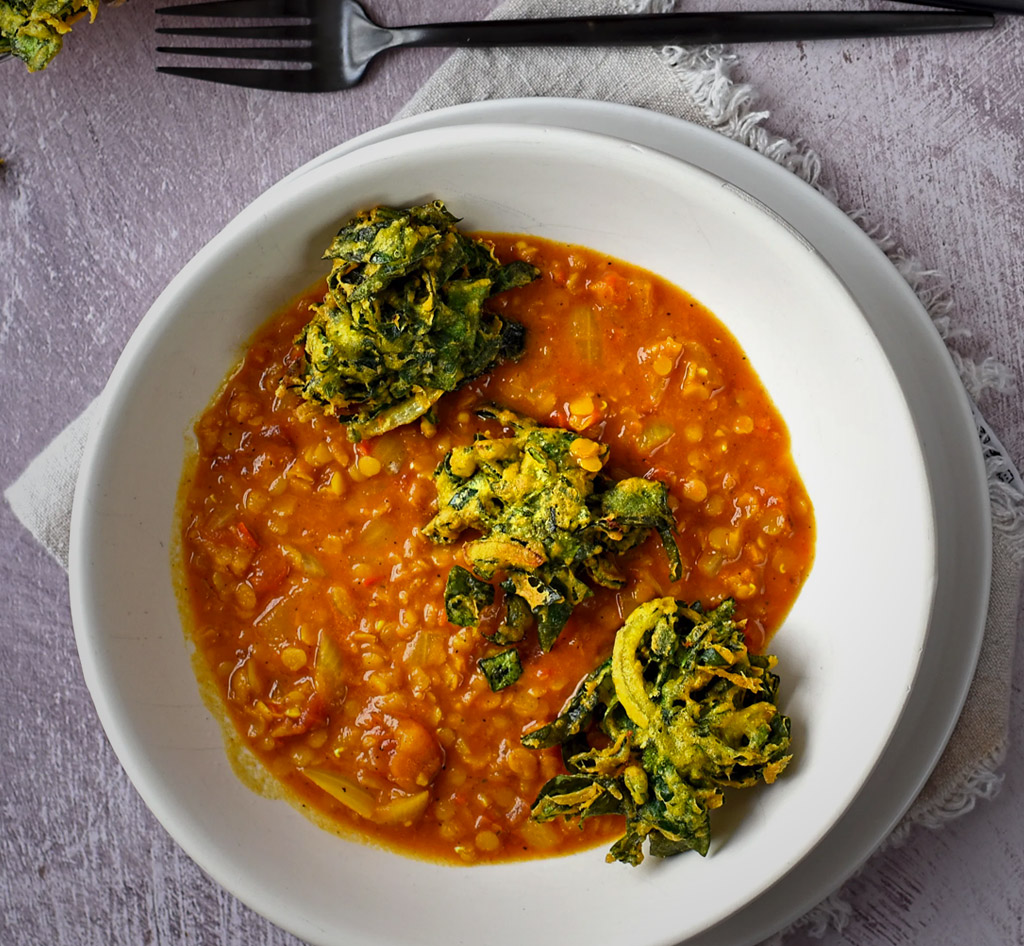 Spinach fritters and dhal recipe
