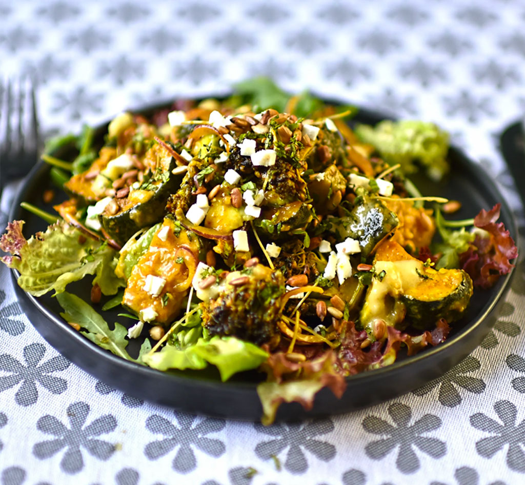 Roasted broccoli and courgette with feta and preserved lemon