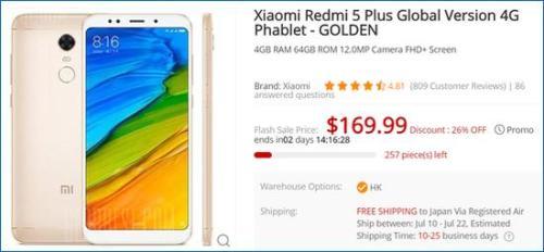 Gearbest Xiaomi Redmi 5 Plus Global Version