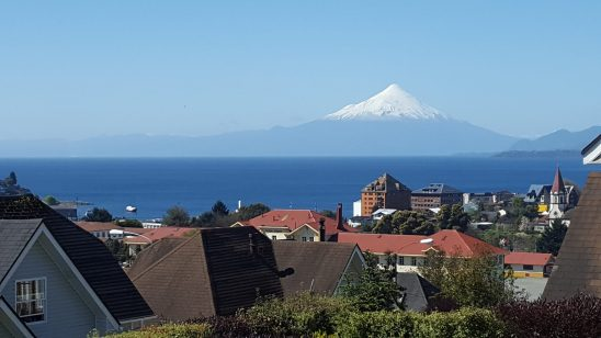 The majestic Osorno Volcano, view from Puerto Varas in the Lake District of Chile
