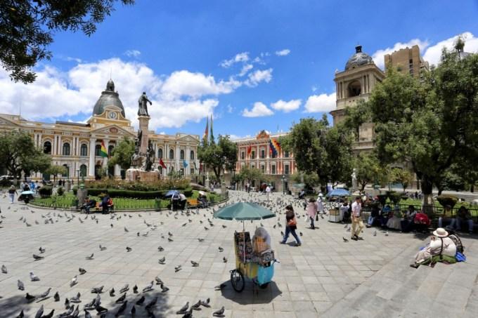 Visiting the central square in La Paz, Bolivia
