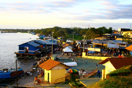 A beautiful sunset on the shore of Leticia in the Amazon rainforest of Colombia