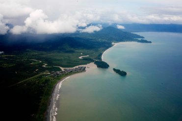 Stunning aerial view of Nuqui, the beautiful coast of Choco Colombia