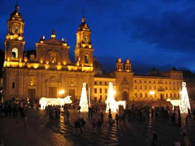 People gathering in Plaza de Boivar, the main square in Bogota