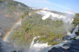 Walking over the Iguazu Falls