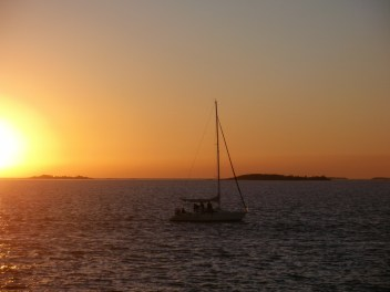 Sunset in the River Plate, between Buenos Aires and Colonia del Sacramento