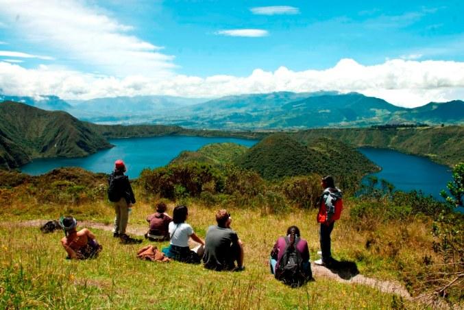 Beautiful landscapes during the Cuicocha hike, Ecuador