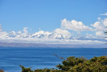 View of the Andes Mountain Range and the Lake Titicaca, between Peru and Bolivia