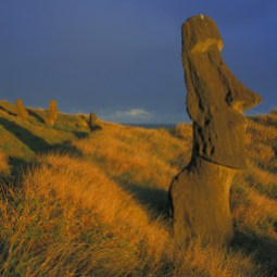 Monumental moais in Easter Island, Chile
