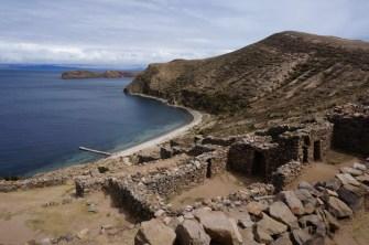 Inca ruins on Sun Island, Lake Titicaca, Bolivia