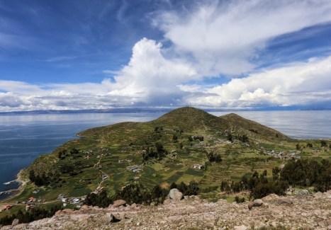 The small village of Cha'lla on Sun Island, Lake Titicaca