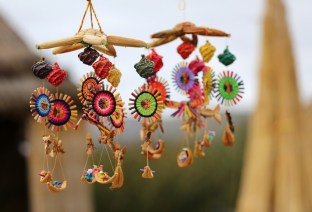 Intricate handicrafts made by the people of Uros, Lake Titicaca