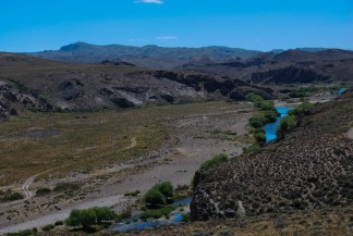 A scene from the Pichi Leufu Valley in Patagonia - simultaneously serene and rugged