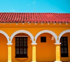 Colourful house in Tlacotalpan, Veracruz state, Mexico