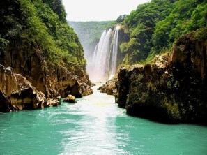 Superb view of Cascadas de Tamul Waterfall in San Luis Potosi State, Mexico