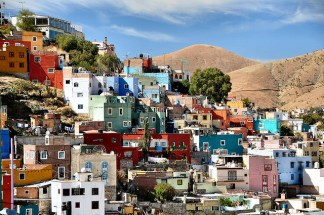 Colourful houses in the city of Guanajuato, central Mexico