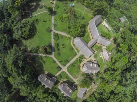 Manu Learning Centre from above in the Amazon in Peru