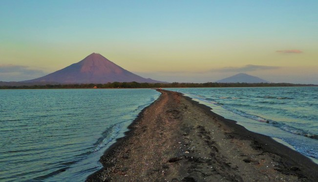 Views of two volcanoes at sunset, Ometepe Island, Lake Nicaragua