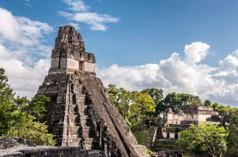 Climbing the Tikal UNESCO site in Guatemala