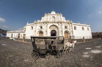 Horse and caridge infront of the Antigua church, Guatemala