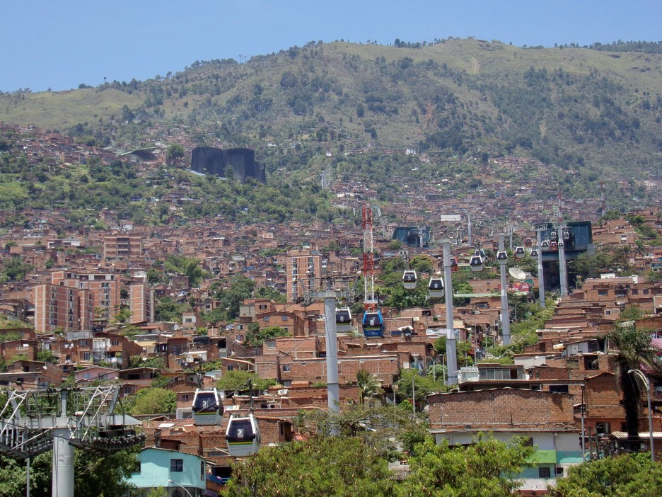 The hills of Medellin with the cable car, Colombia