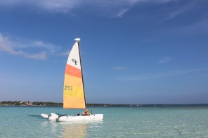 Enjoying the Bacalar lake on a catamaran in Mexico