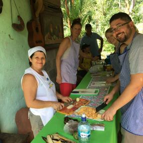 Our cooking lessons in Juanilama, later we enjoyed what we created, Costa Rica