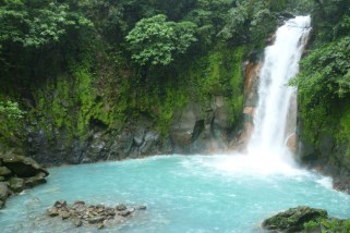 The Celeste River waterfall and lake in Costa Rica