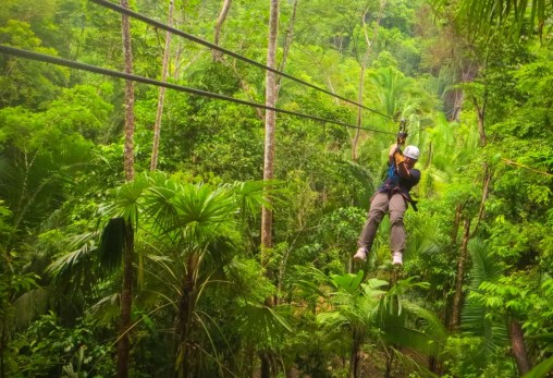 Zip-lining for those who like adventure in Belize rainforest