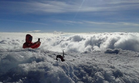 Ice and clouds on the Cayambe summit in Ecuador