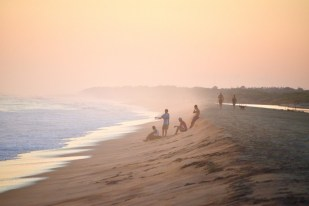 Enjoying sunset in a beach near Puerto Escondido in Oaxaca