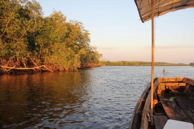 Sailing through the mangroves and enjoying sunset during an ectourism adventure at El Paredon, Guatemala