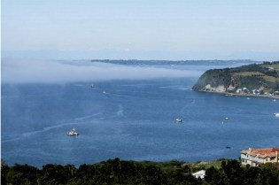 Panoramic view over the magical Chiloe Island in Chile