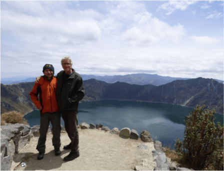 Geoff and our local guide Santiago, at the Laguna Quilotoa, during a hiking excursion in Ecuador