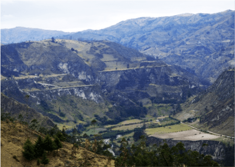 The impressive Inca terraces while trekking the Quilotoa loop in Ecuador