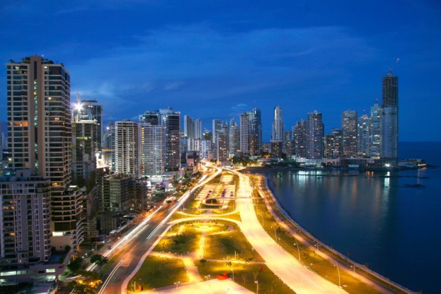 View of Panama City at night, during the tour of Panama